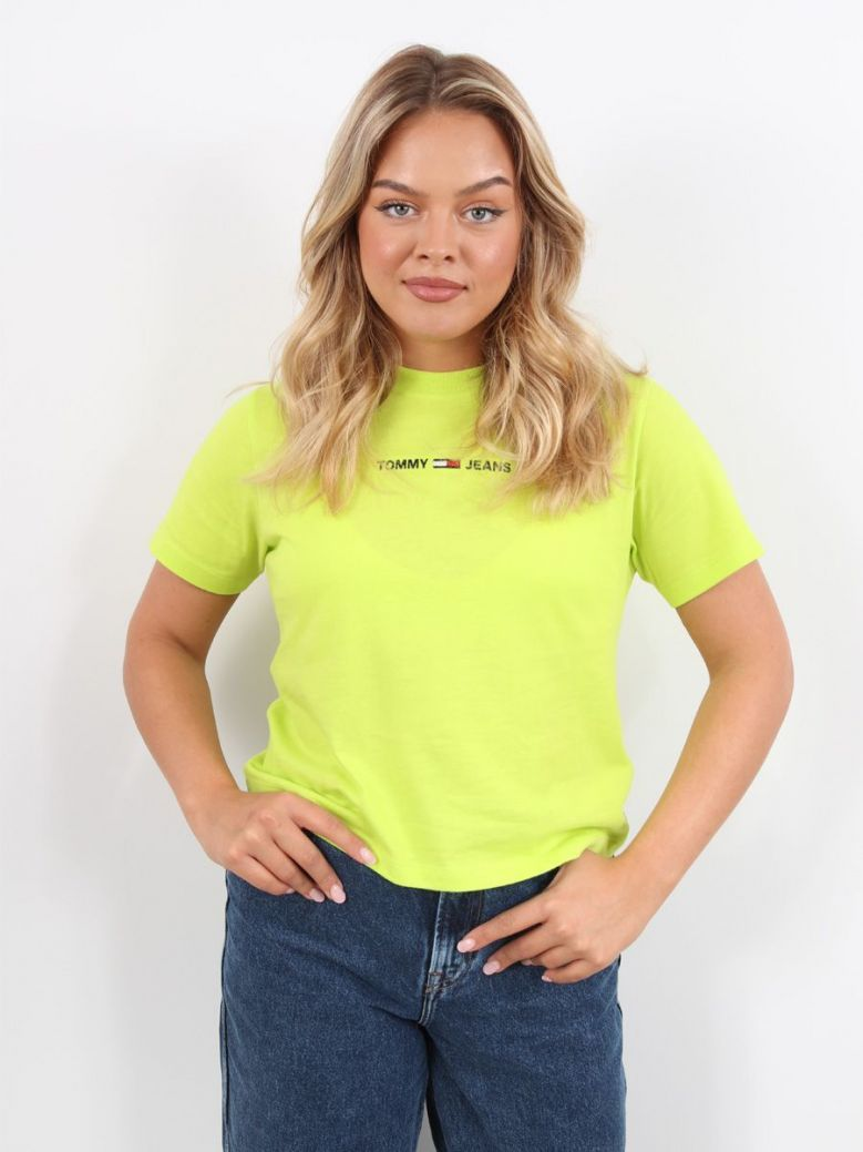 Tommy Jeans Logo Embroidery Organic Cotton T-Shirt Lime Green