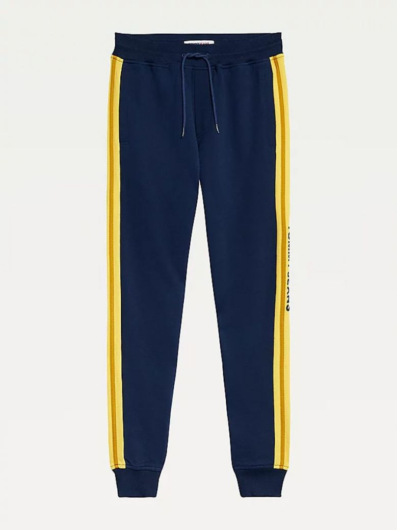Tommy Jeans Mens Twilight Navy Colour-Blocked Organic Joggers