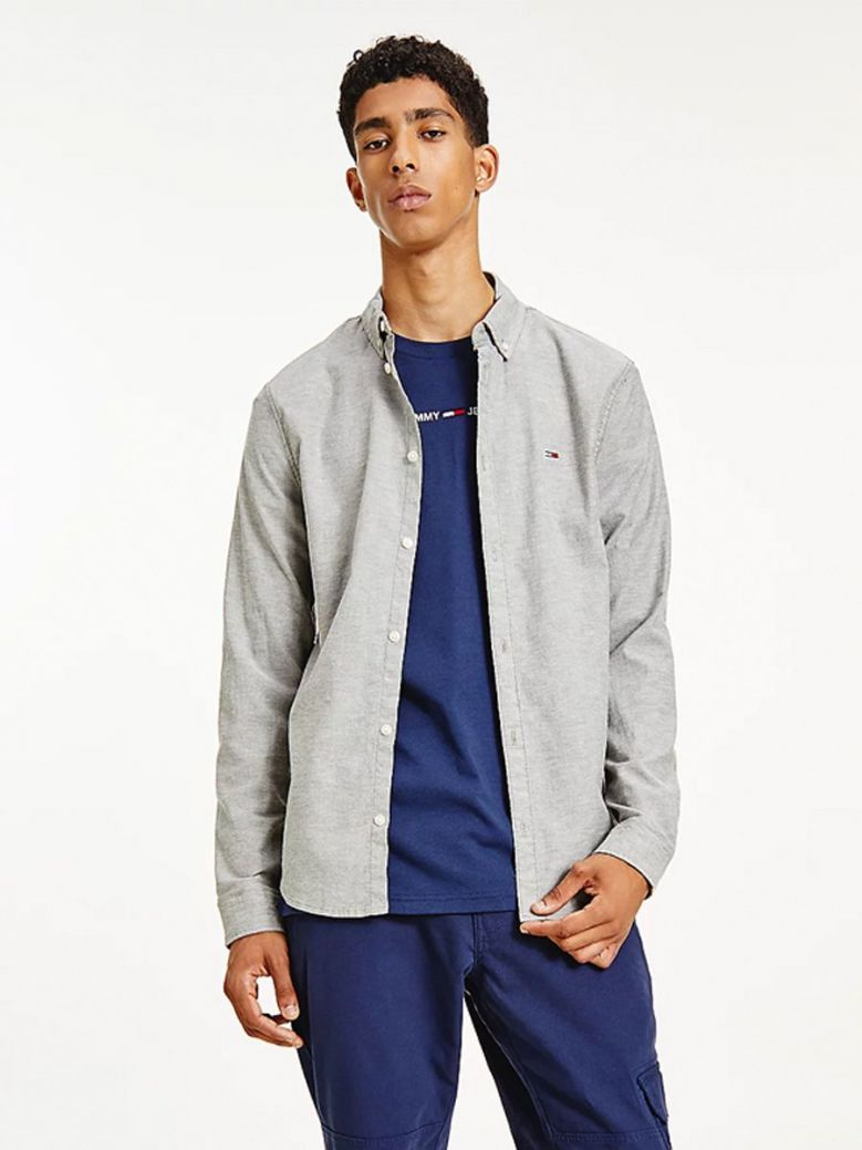Tommy Jeans Organic Cotton Slim Fit Oxford Shirt Grey