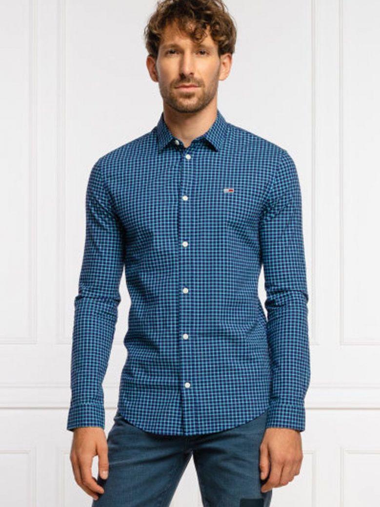 Tommy Jeans Stretch Poplin Check Shirt Blue