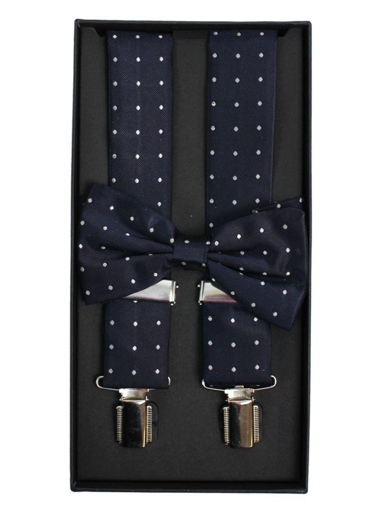 Dario Beltran Navy With Grey Polka Dot Braces & Bow Tie Set