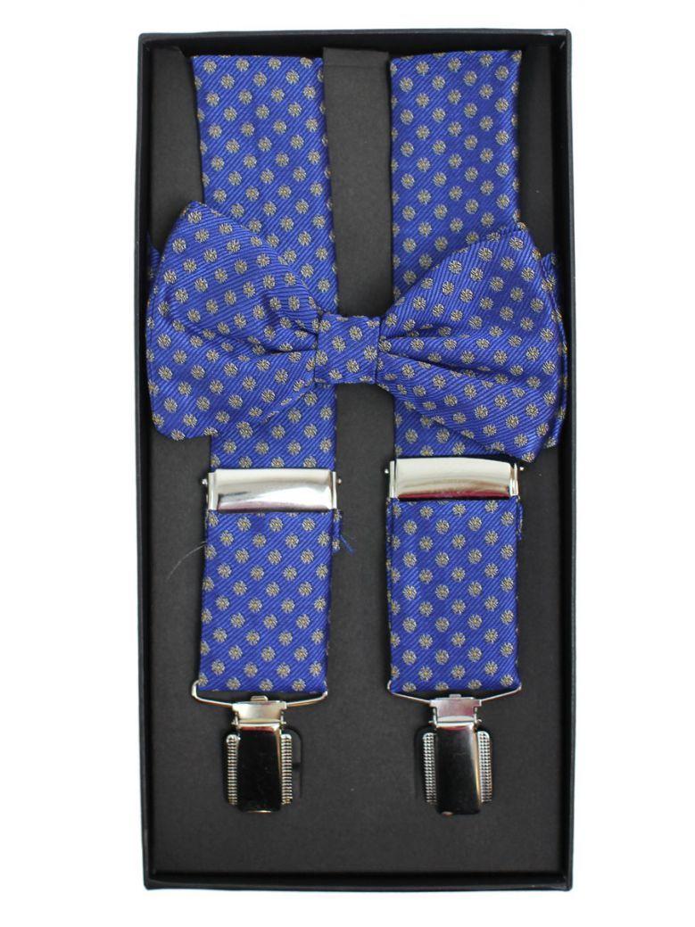 Dario Beltran Blue With Grey Print Braces & Bow Tie Set