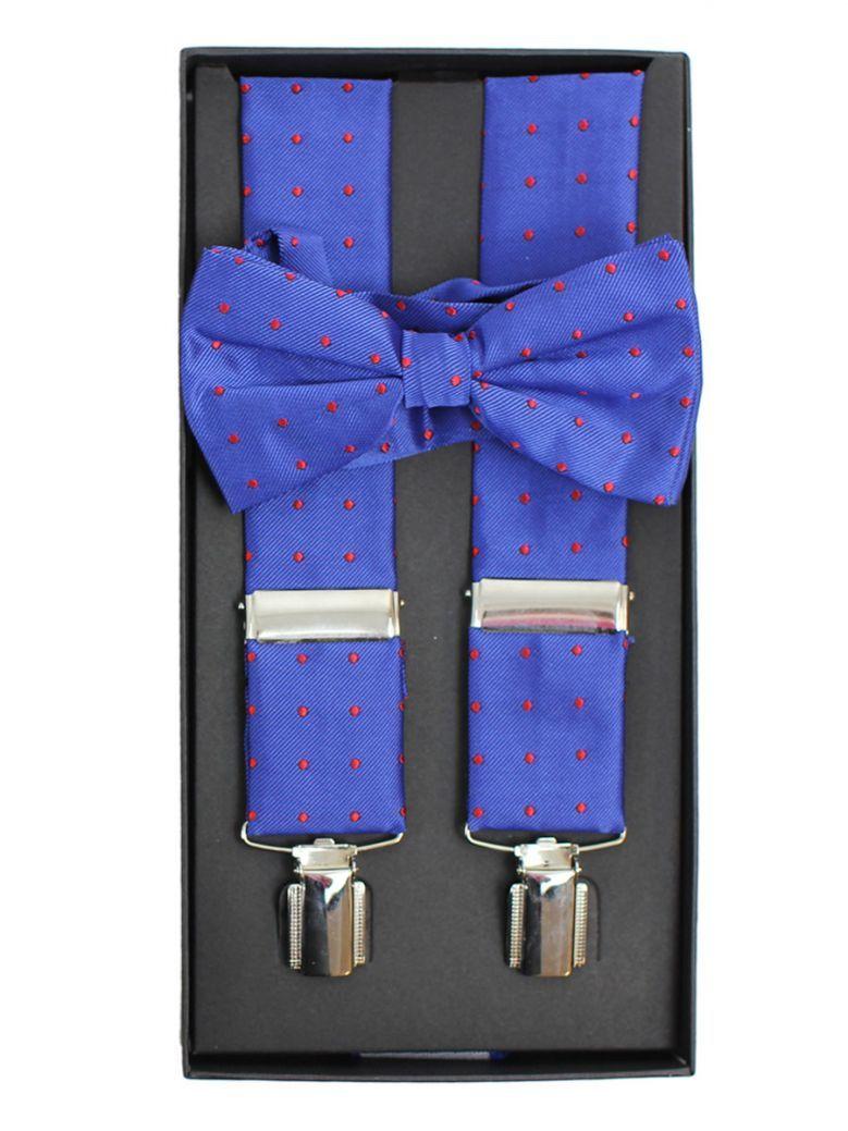 Dario Beltran Blue With Red Dot Braces & Bow Tie Set