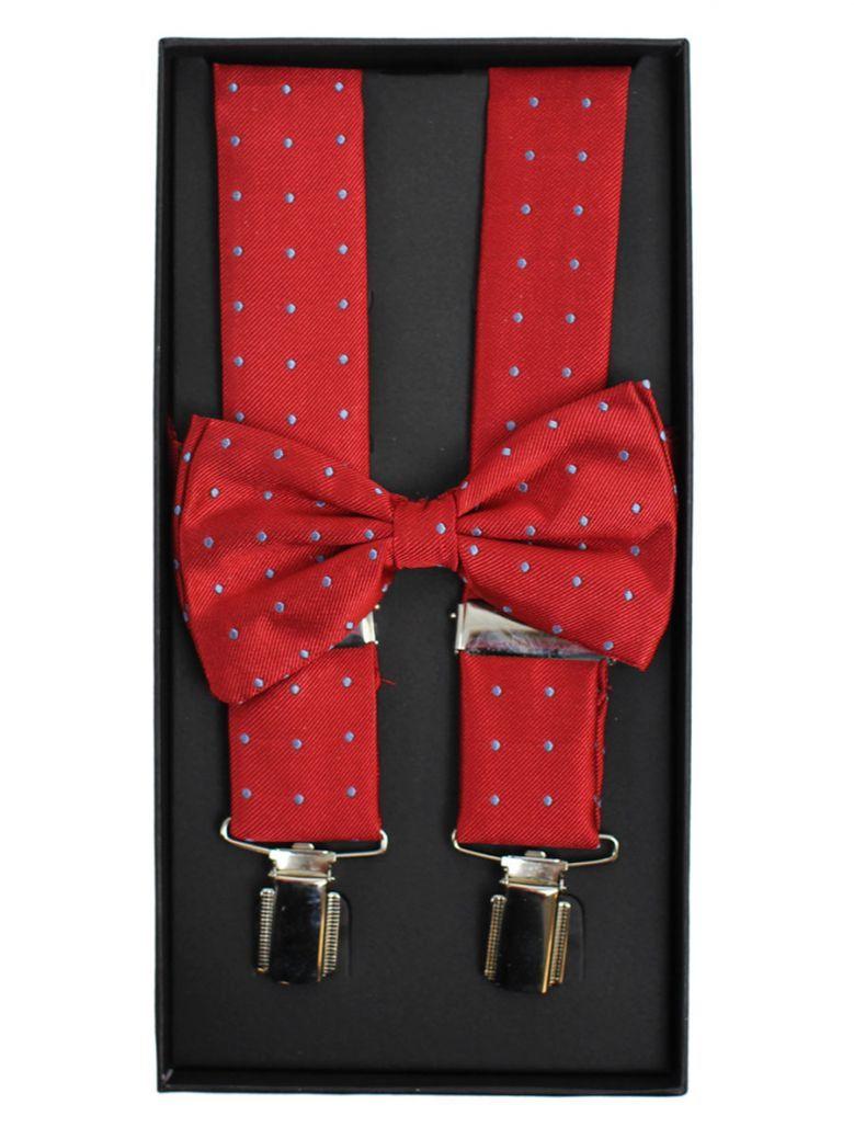 Dario Beltran Red With Blue Dot Braces & Bow Tie Set