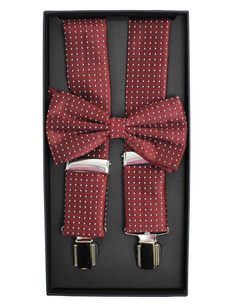 Dario Beltran Burgundy With Grey Polka Dot Braces & Bow Tie Set