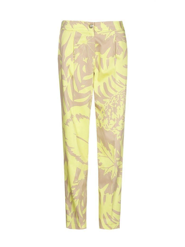 Marie Mero Beige & Lime Jungle Print Chino Trousers