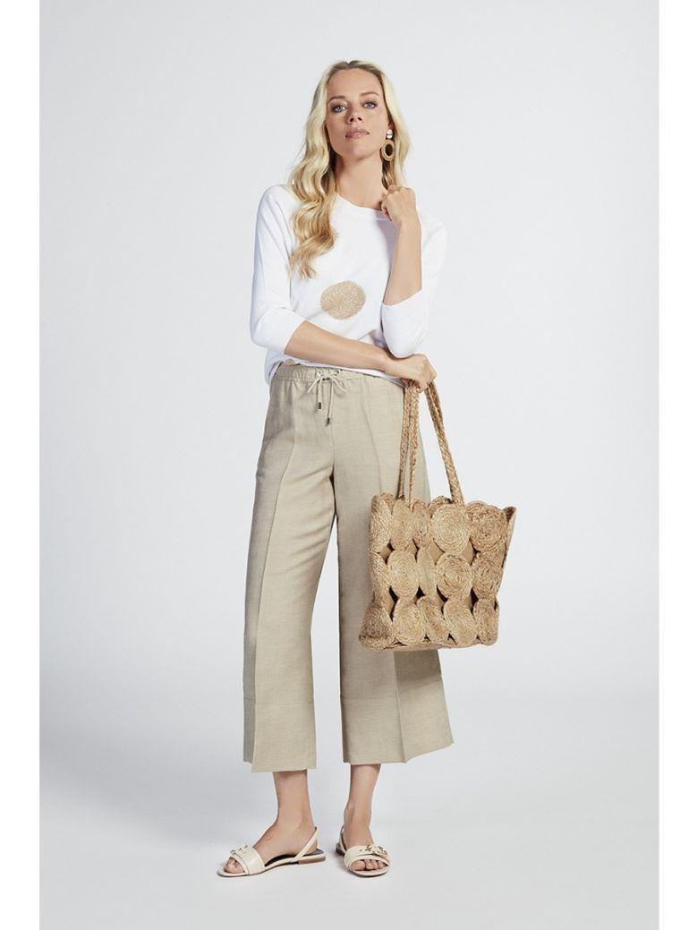 Marie Mero Beige Drawstring Wide Leg Trousers