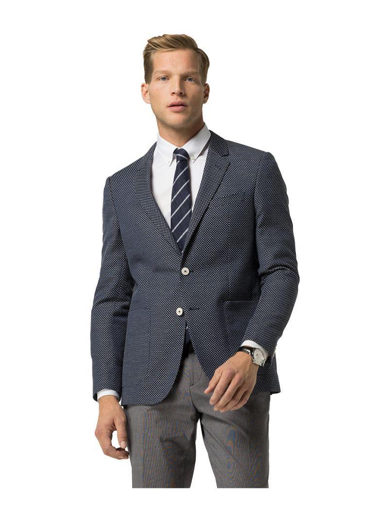 Tommy Hilfiger Navy Virgin Wool Blend Slim Fit Blazer