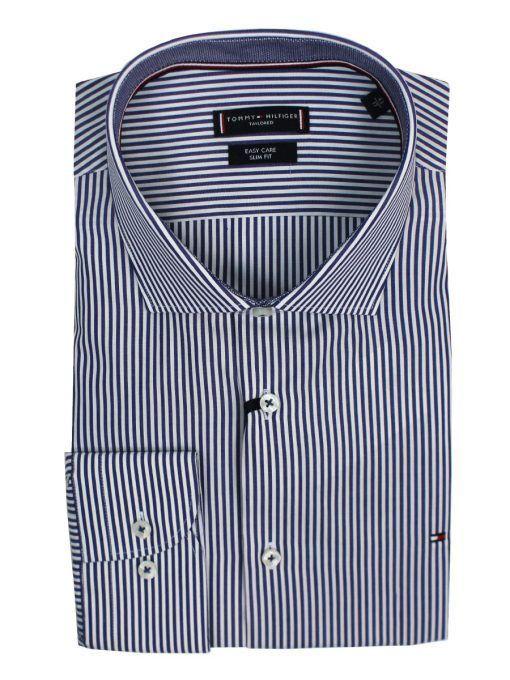Tommy Hilfiger Navy & White Poplin Stripe Classic Slim Shirt