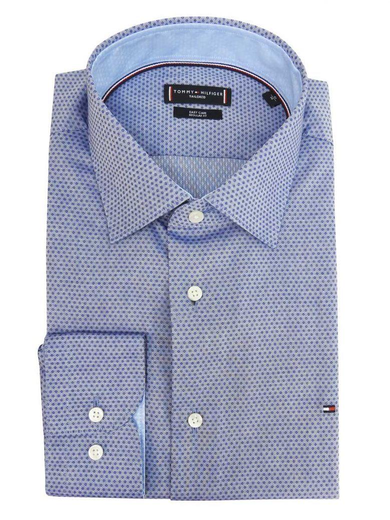 Tommy Hilfiger Tailored Navy Dobby Diamond Print Shirt