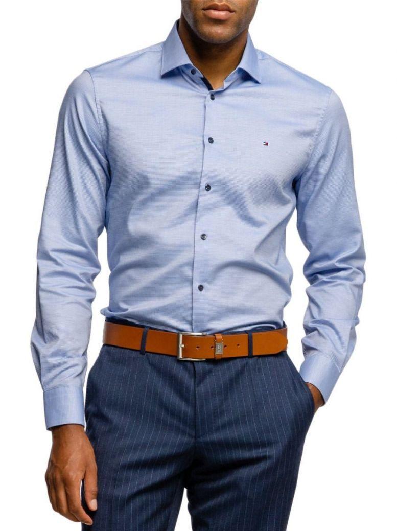 Tommy Hilfiger Tailored Mens Blue Slim Dobby Shirt