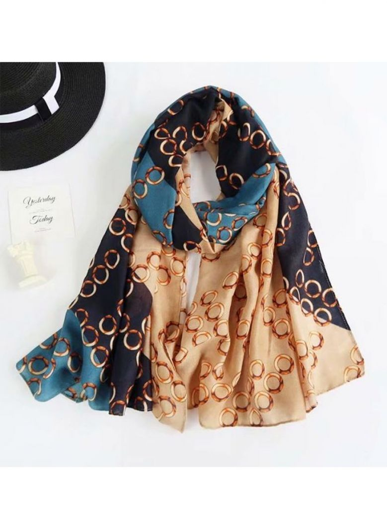 Cilento Woman Teal/Navy/Nude Ring Print Scarf