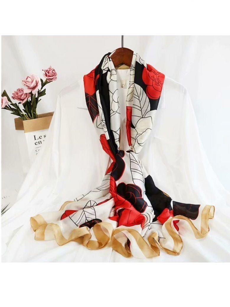 Cilento Woman Red/Black/White Rose Print Scarf