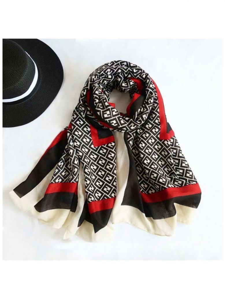 Cilento Woman Black and Red Initial Printed Scarf