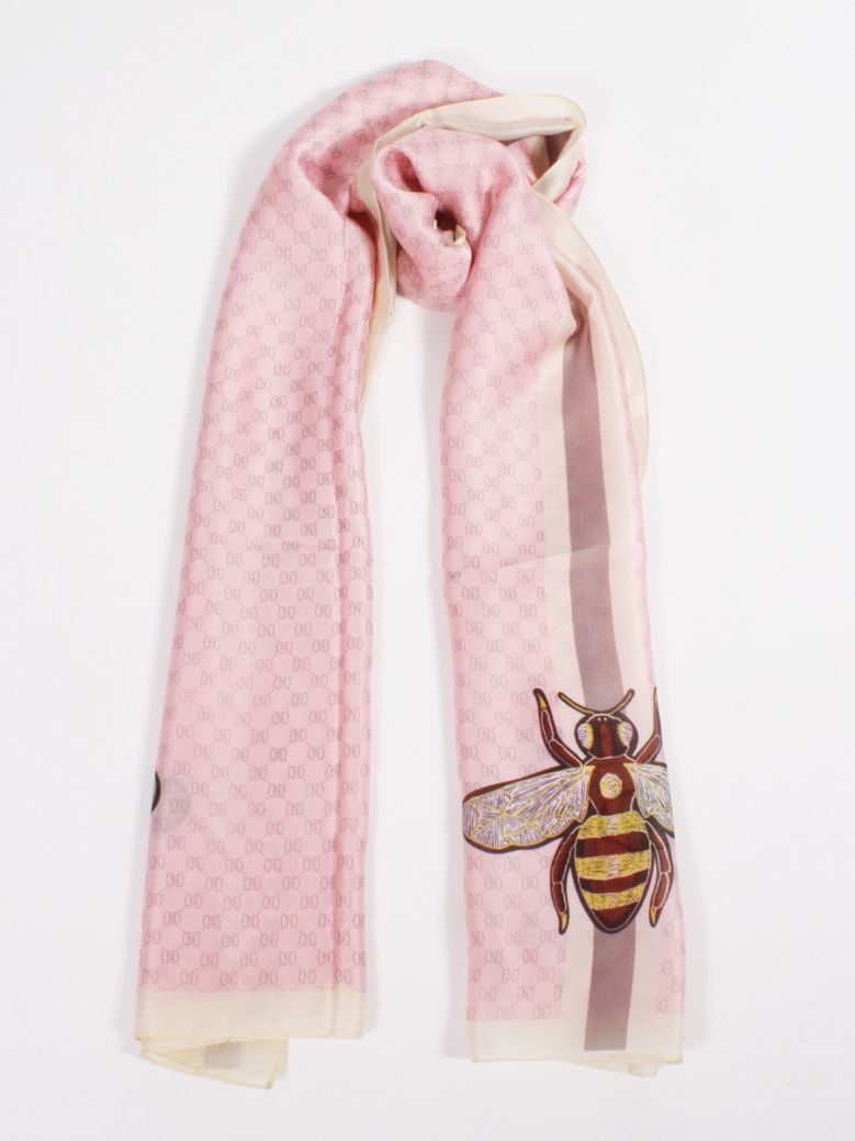 Cilento Woman Baby Pink Printed Bee Scarf