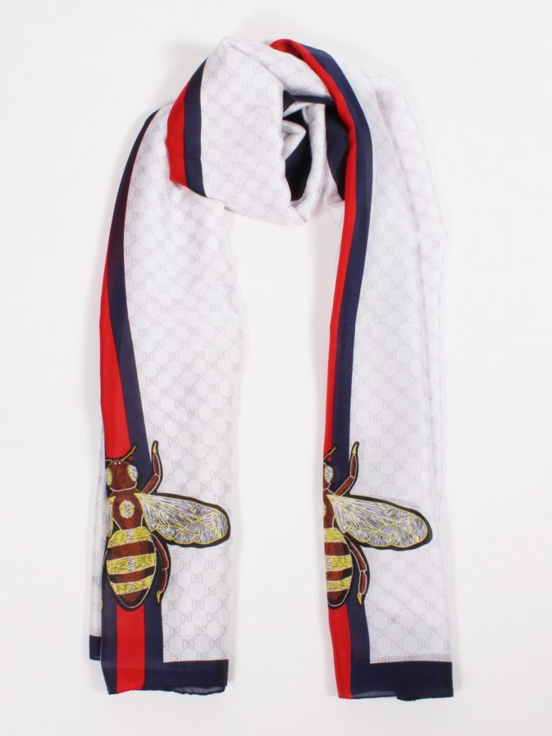 Cilento Woman White Printed Bee Scarf