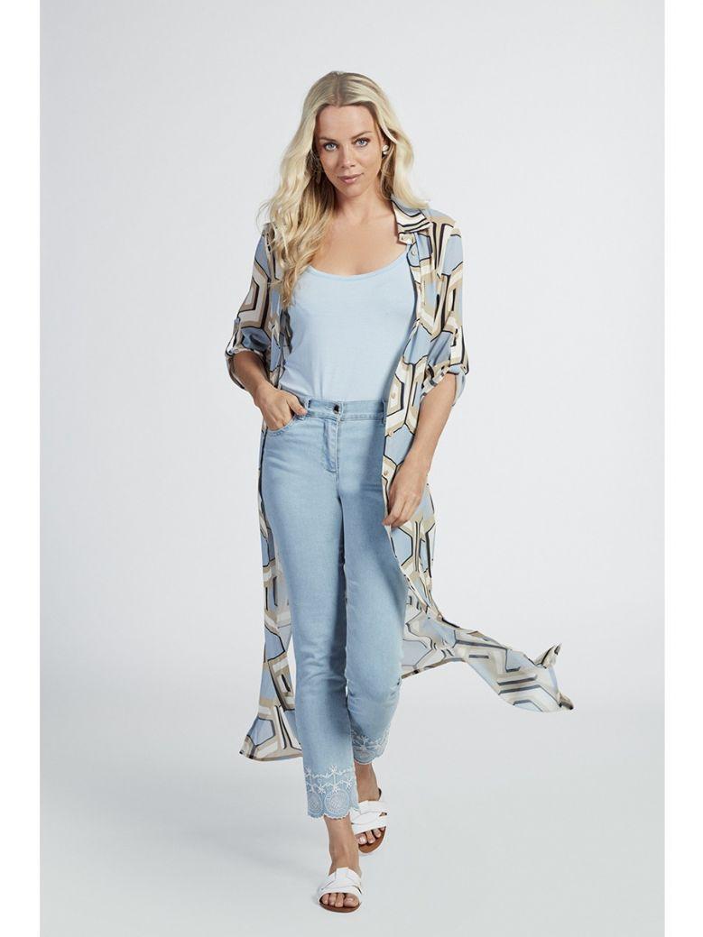 Marie Mero Blue & Beige Geometric Print Shirt Dress