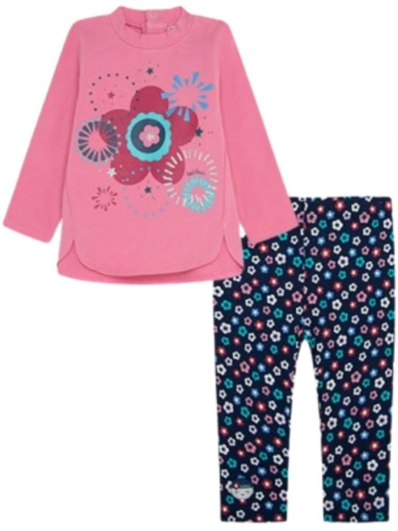 TucTuc Floral Print Top And Legging Set Pink