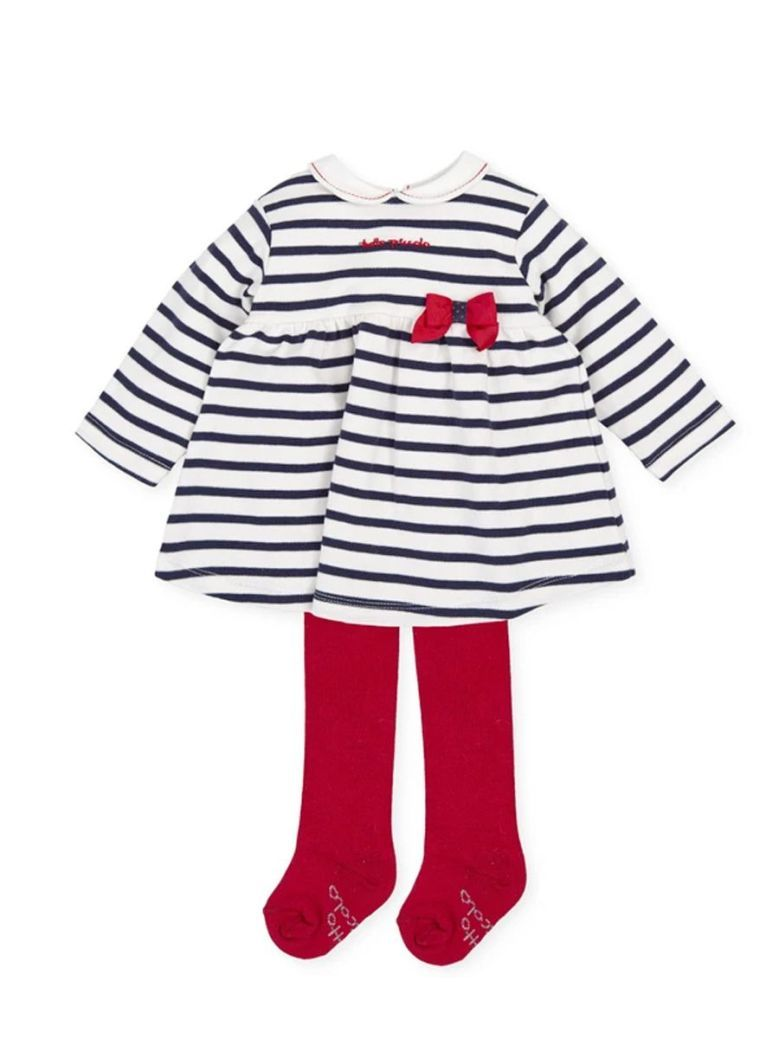 Tutto Piccolo Striped Dress And Tights Set Navy