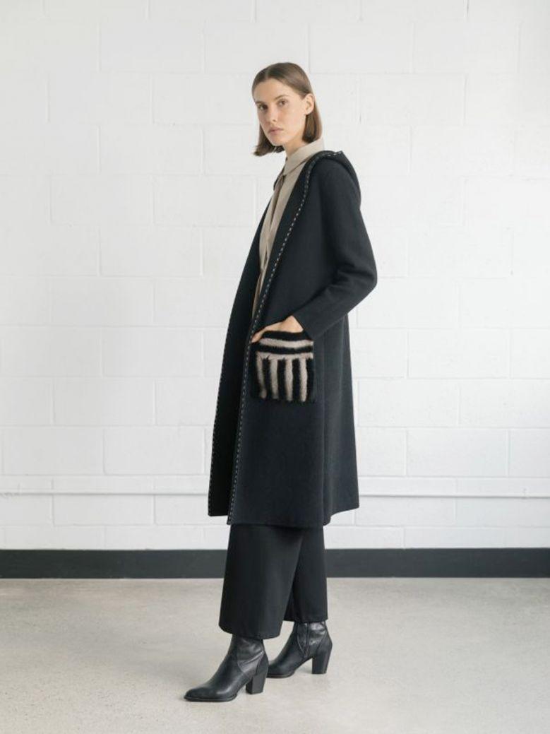 Uchuu Black Long Coatigan with Fur Pockets