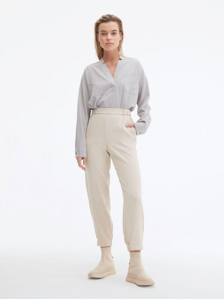 Uchuu Elastic Waisted Trousers Beige