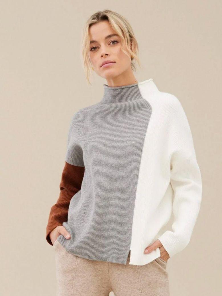 Uchuu Rib-Knit Colour Block Jumper Grey