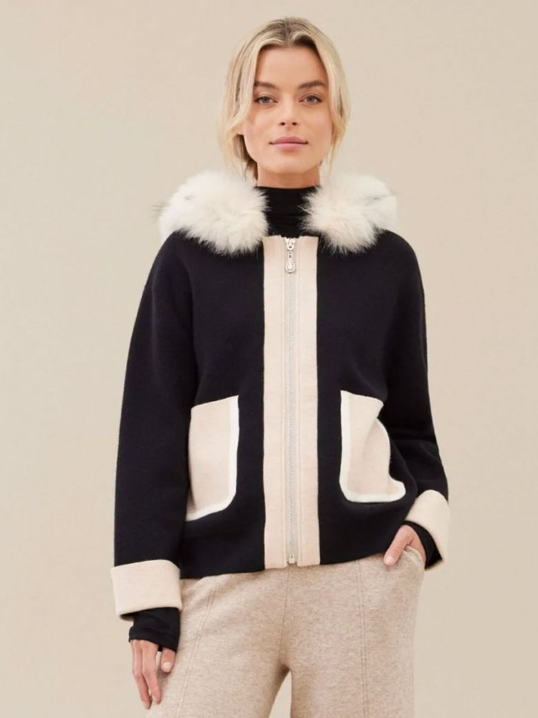 Uchuu Two-Tone Hooded Sweater Black