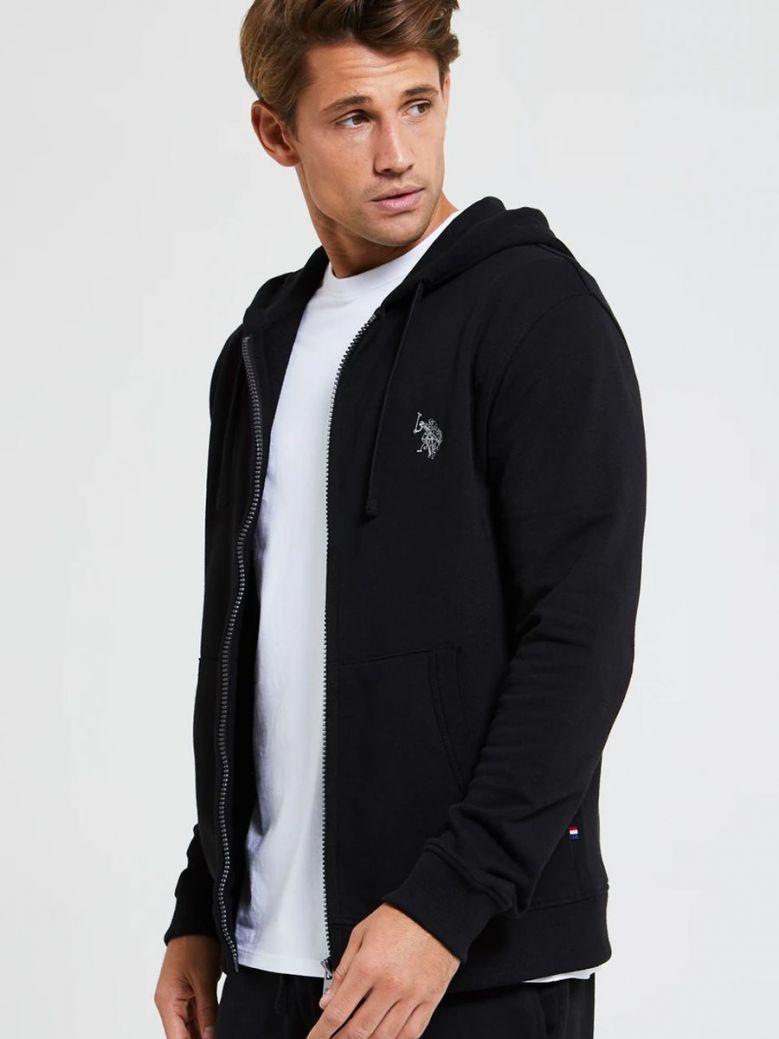 U.S. Polo Assn. Fleece Zip Through Hoodie Black