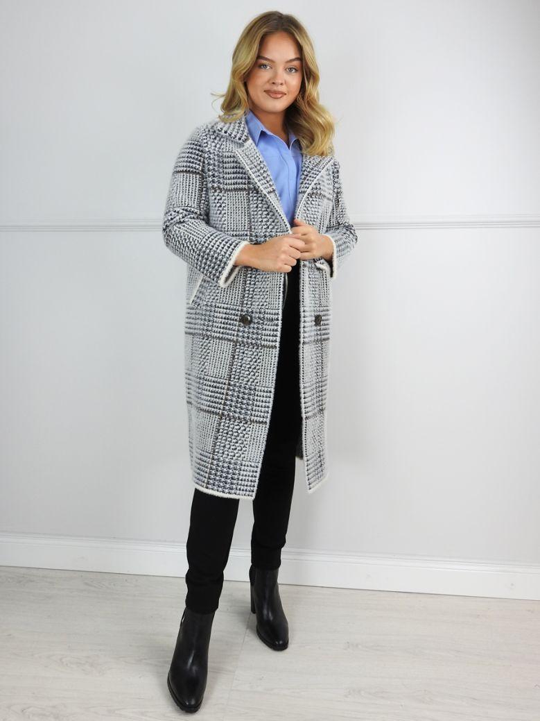 Uchuu Grey Tweed Fluffy Coat