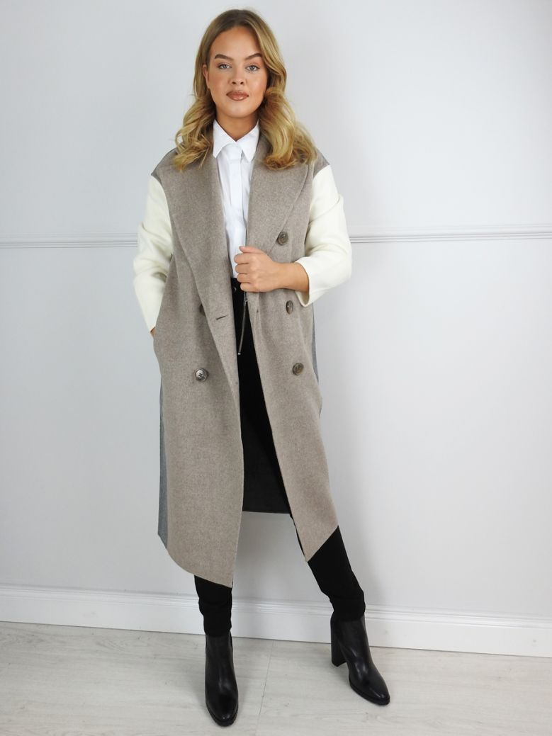 Uchuu Taupe Long Double Breasted Wool Coat