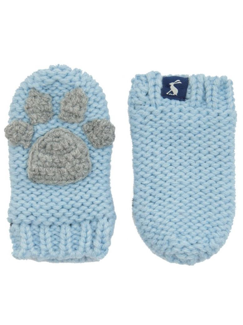 Joules Kids Sky Blue Paws Mittens