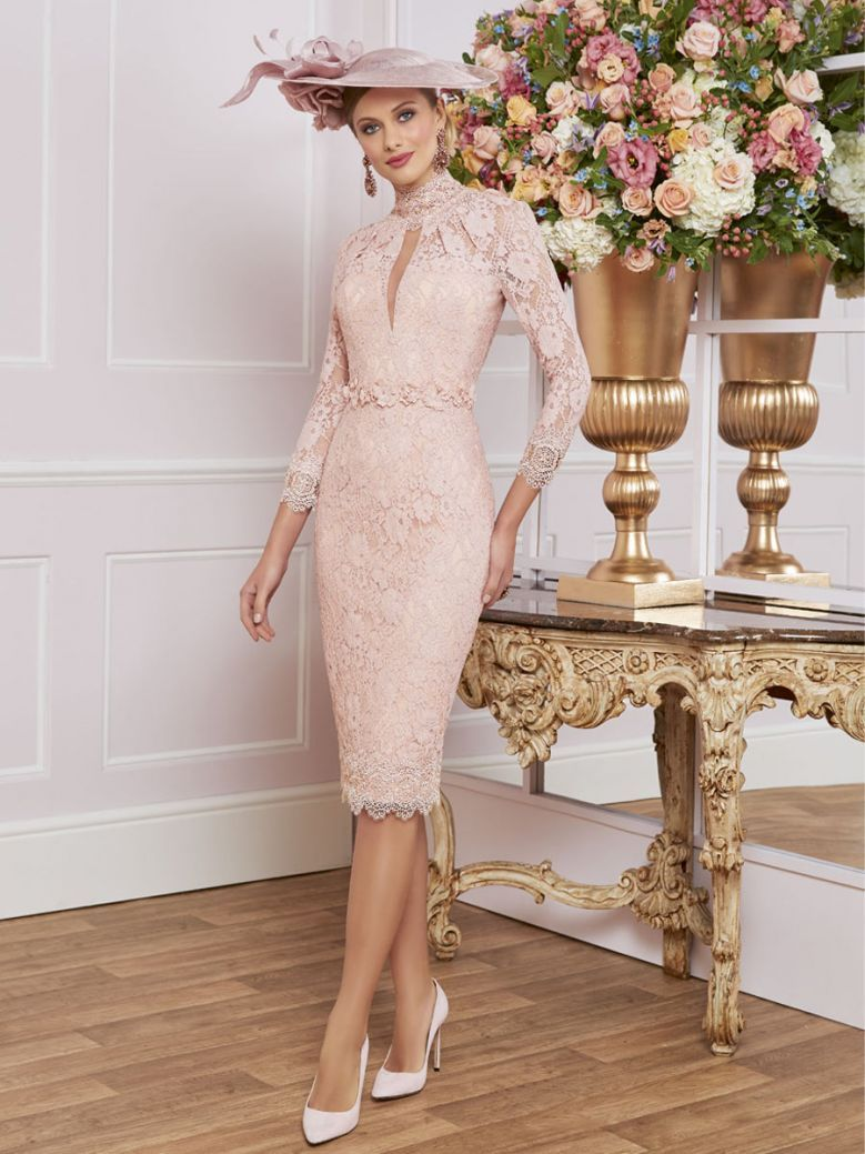Veni Infantino for Ronald Joyce Long Sleeved Lace Fitted Dress, Carnation, Style 991455