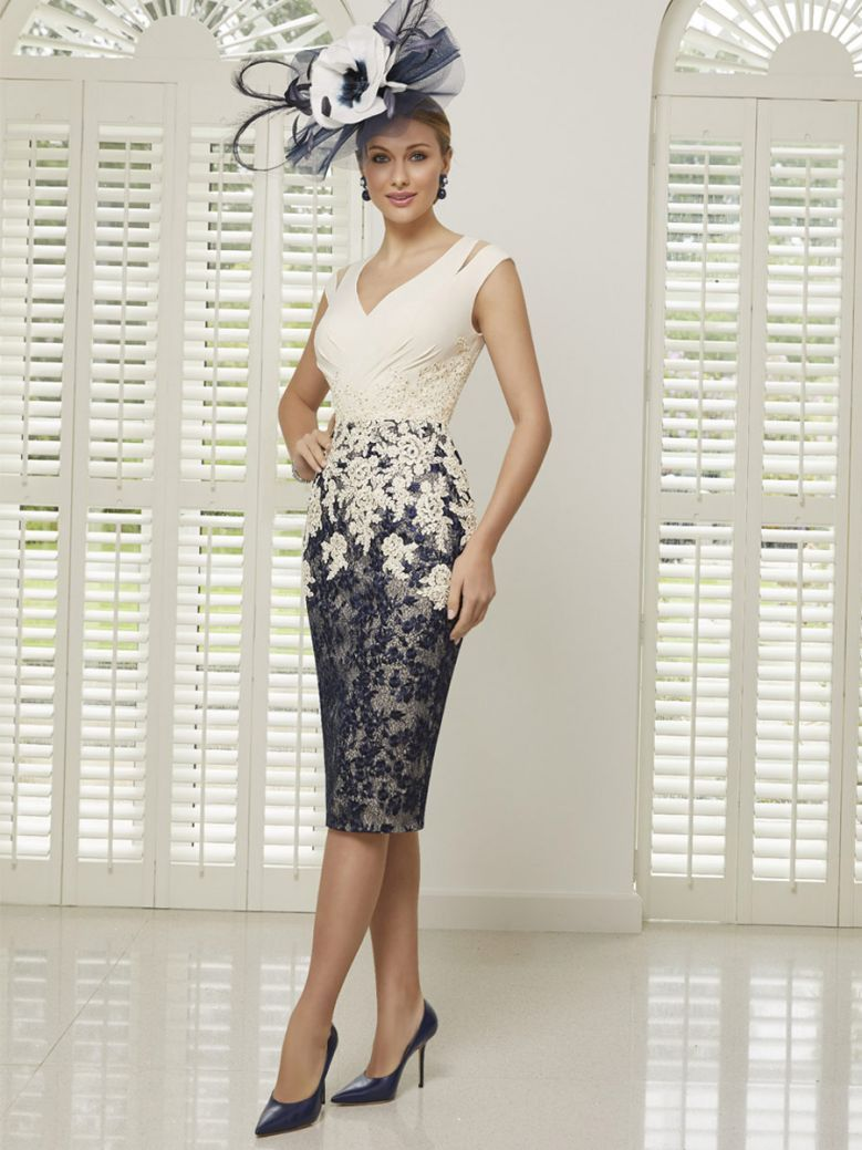 Veni Infantino for Ronald Joyce Lace Dress, Champagne and Navy, Style 991501S