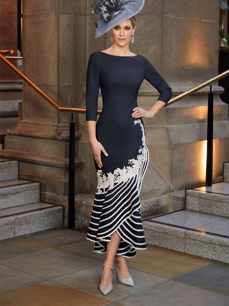 Veni Infantino for Ronald Joyce Crepe Lace Applique Fit & Flare Dress, Navy, Style 991809