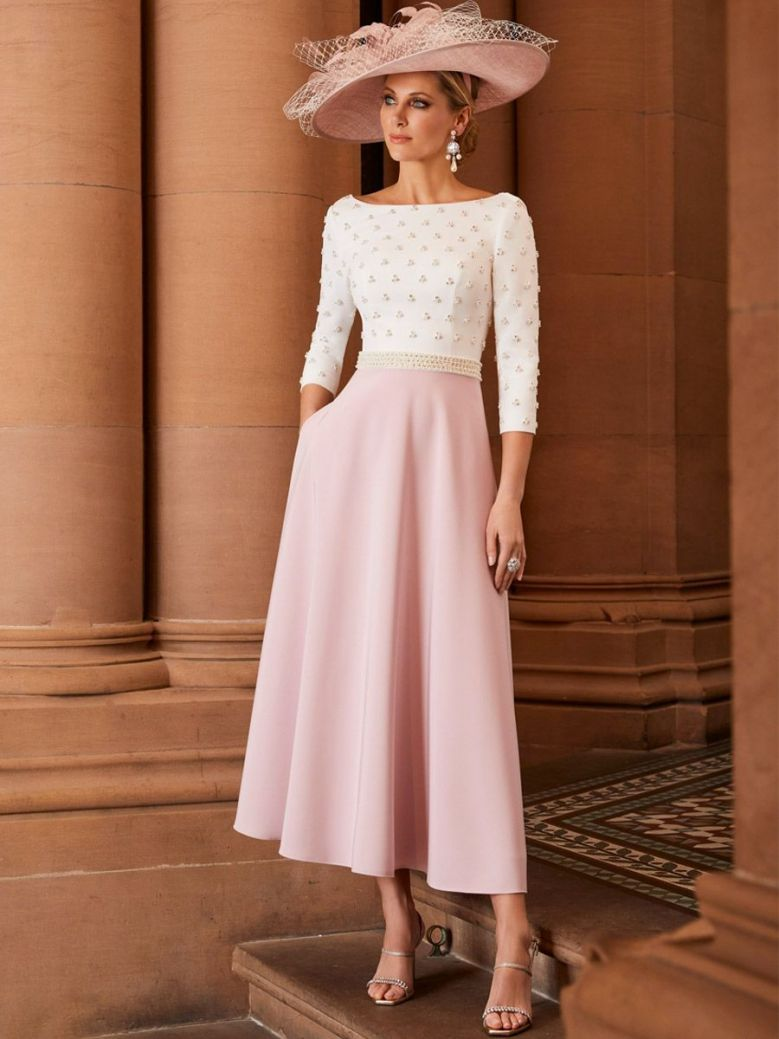 Veni Infantino for Ronald Joyce Pearl and Diamante Detail Fit and Flare Dress, Ivory Blush, Style 991826