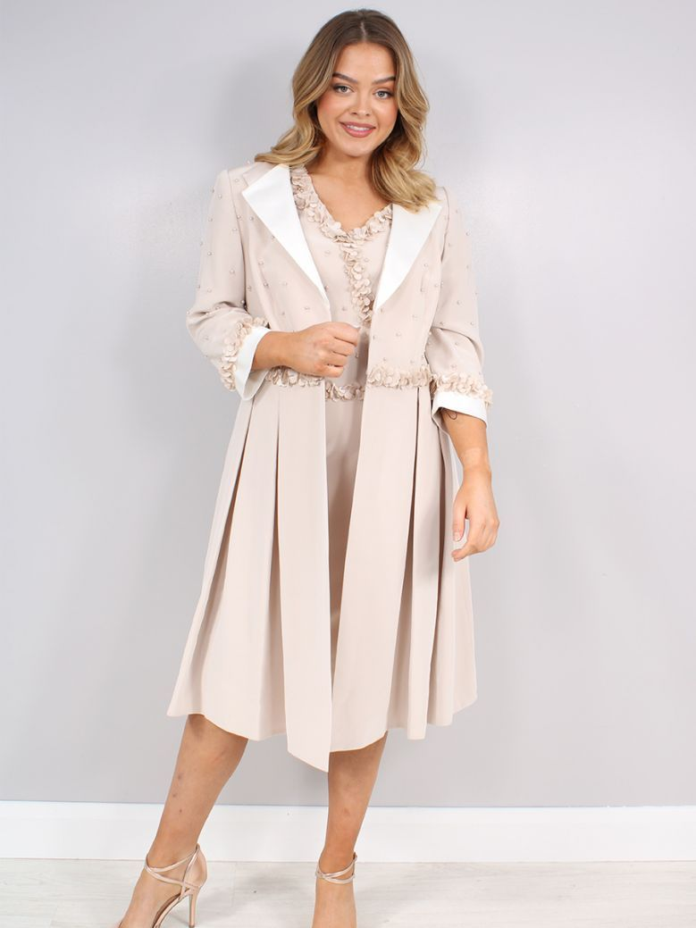 Veni Infantino for Ronald Joyce Pearl Detail Dress and Coat, Almond Ivory, Style 991719