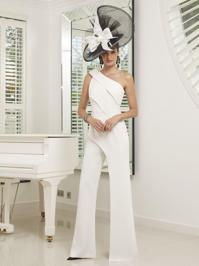 Veni Infantino for Ronald Joyce One Shoulder Ruffle Detail Crepe Jumpsuit , Ivory, Style 991520