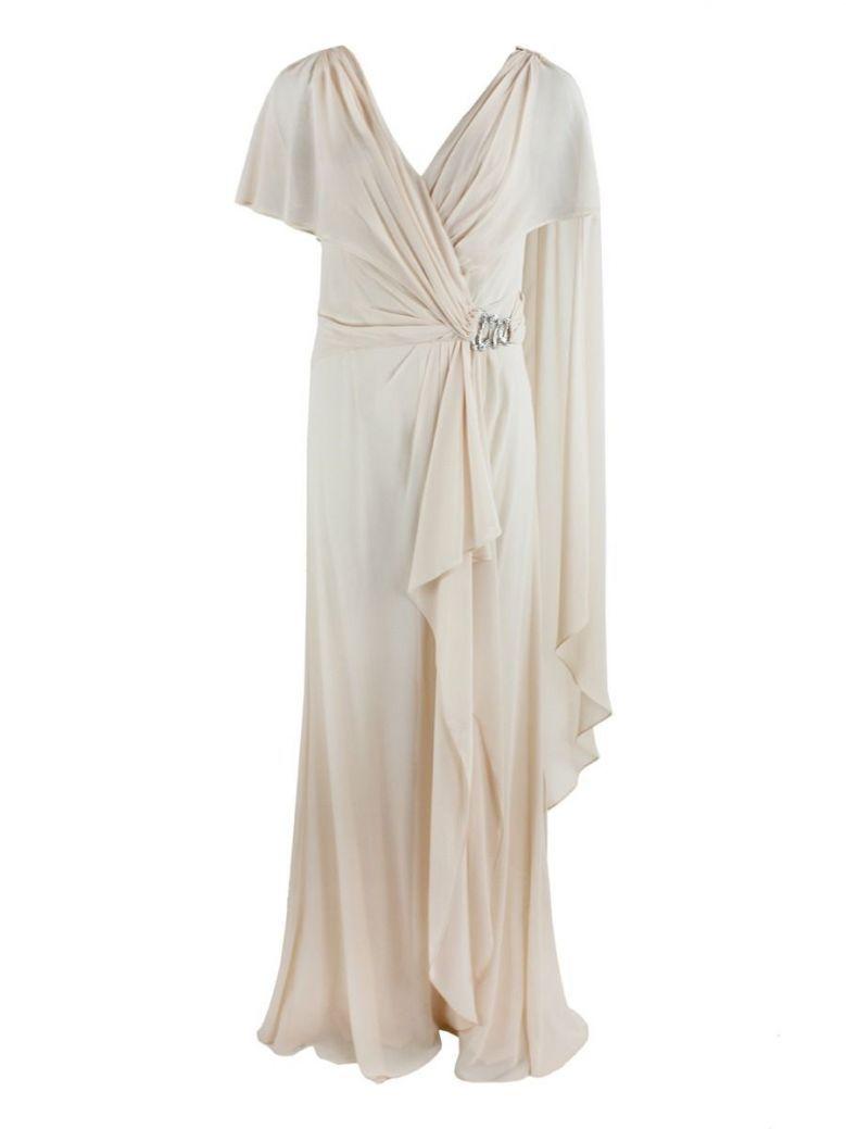Veni Infantino for Ronald Joyce Chiffon Layered Jumpsuit, Almond, Style 991350