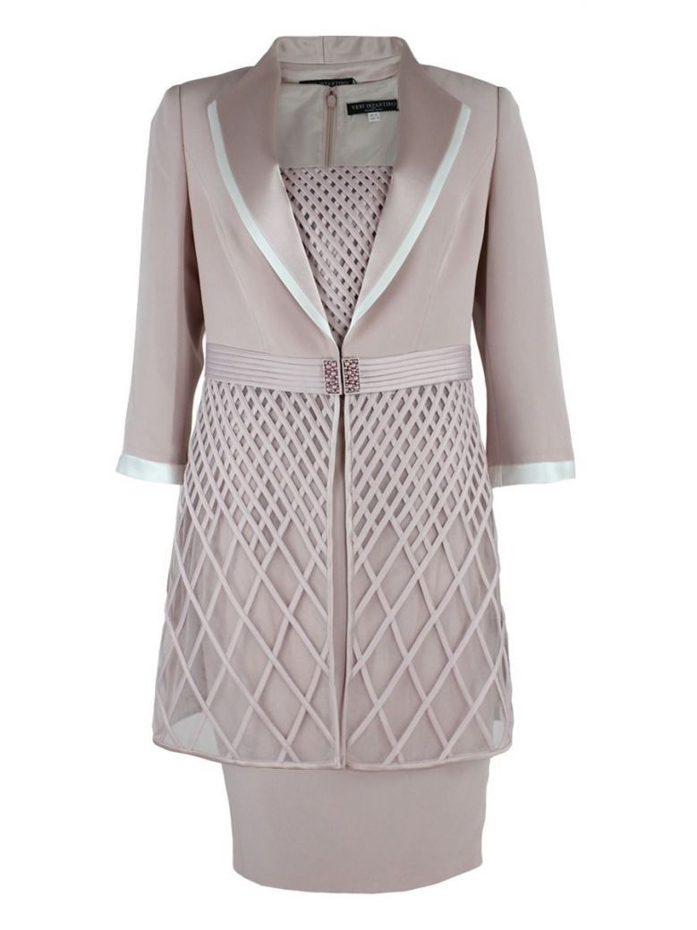 Veni Infantino for Ronald Joyce Dress and Jacket Set, Rose and Ivory, Style 991401