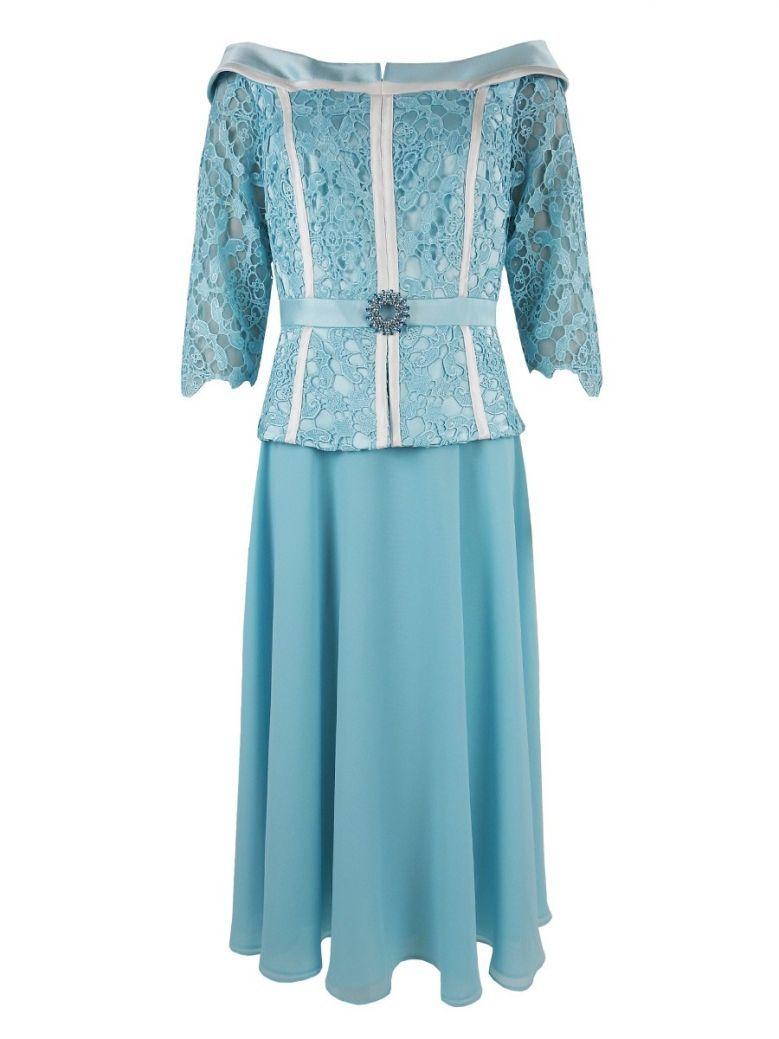 Veni Infantino for Ronald Joyce Boat Neck Lace Dress, Zircon Blue, Style 991437