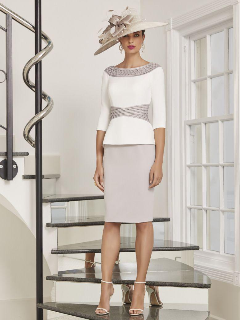 Veni Infantino for Ronald Joyce Bodice Overlay Dress, Ivory and Taupe, Style 991494