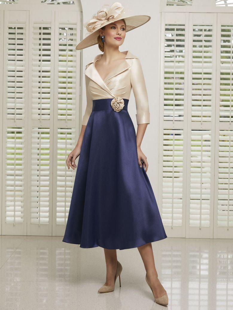 Veni Infantino for Ronald Joyce Mikado A-Line Dress, Bellini and Navy, Style 991509