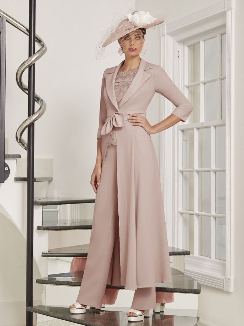 Veni Infantino for Ronald Joyce Three Piece Trouser Suit, Cameo Rose, Style 991550