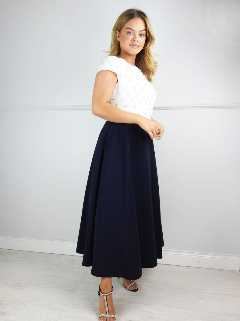 Veni Infantino for Ronald Joyce Capped Sleeve Pearl Detail Dress, Navy and Ivory, Style 991506