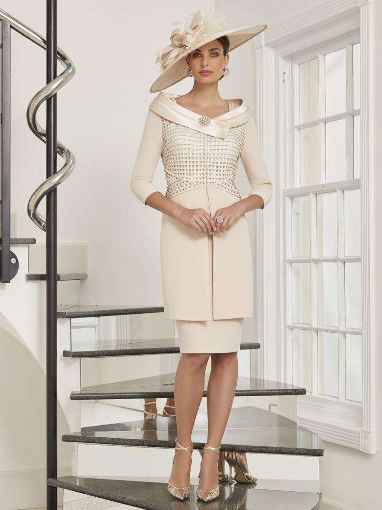 Veni Infantino by Ronald Joyce Coat and Dress Set, Almond and Ivory, Style 991541