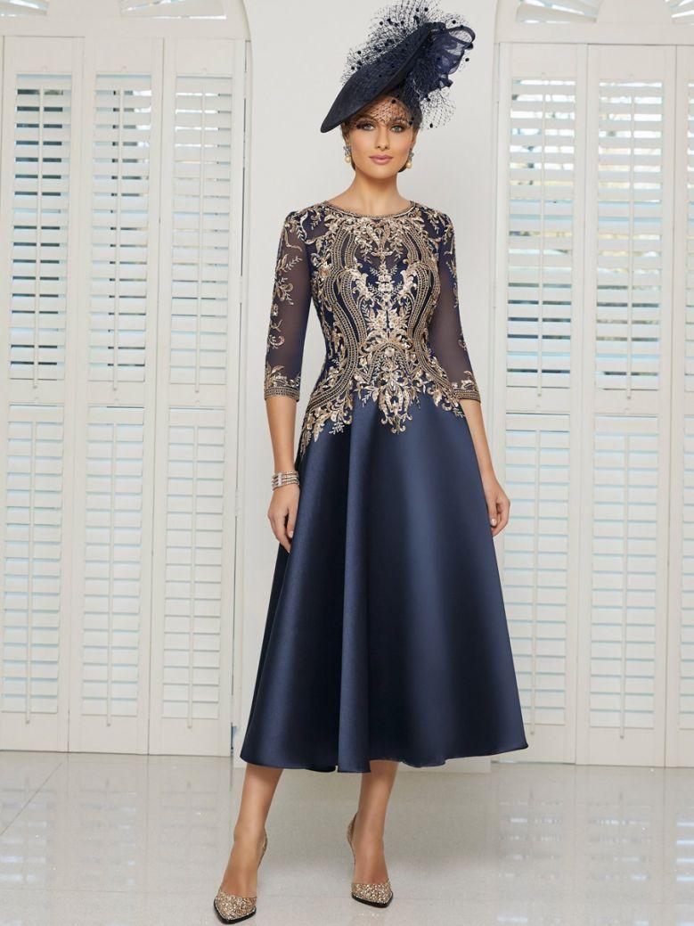 Veni Infantino for Ronald Joyce Embellished Bodice Midi Dress, Navy and Rose Gold, Style 991611