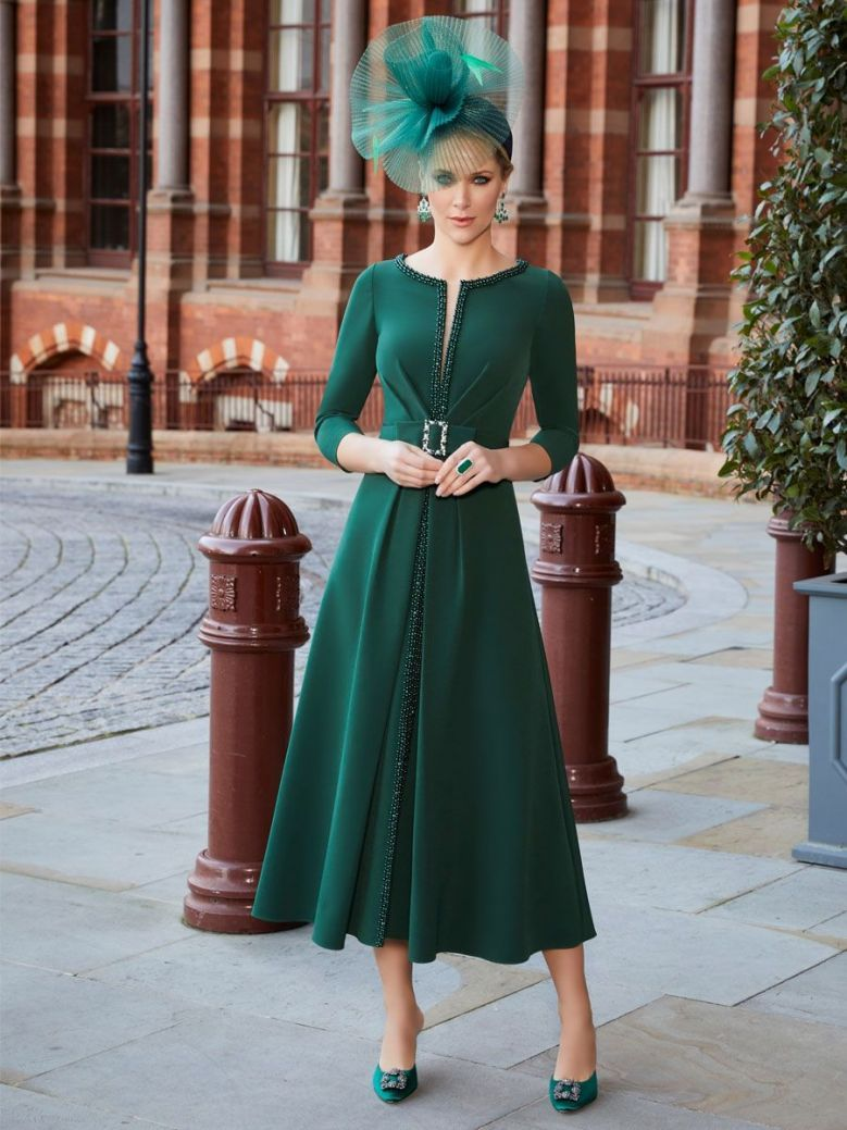 Veni Infantino for Ronald Joyce Beaded Dress, Forest Green, Style 991830