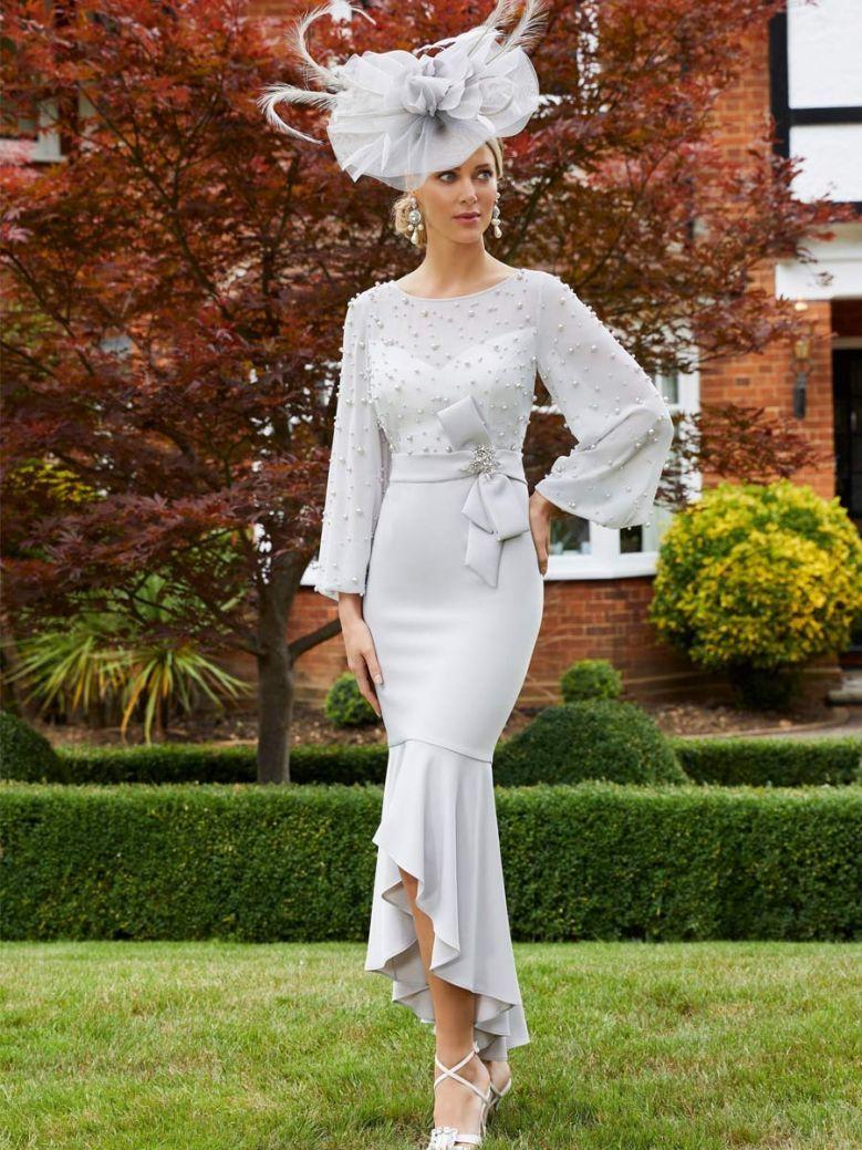 Veni Infantino for Ronald Joyce Chiffon Fishtail Dress, Silver, Style 991701