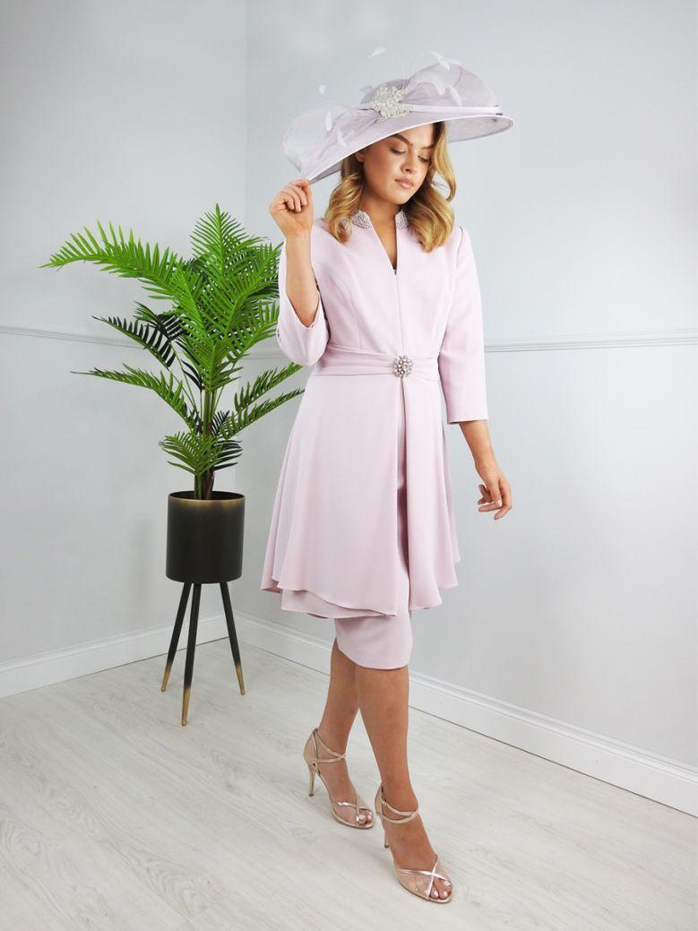 Veni Infantino for Ronald Joyce Tailored Belted Midi Dress, Blush Pink, Style 991602