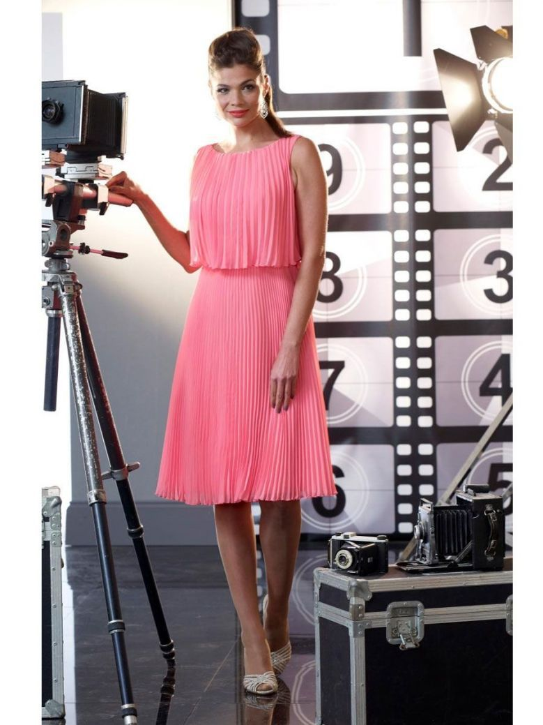 Veromia Occasions Pleated Midi Dress, Hot Pink, Style VO2213